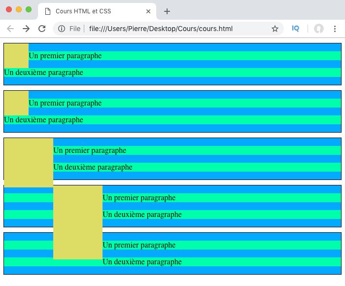 Ilustration de problèmes de design avec float en CSS