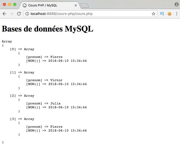 Présentation et exemple d'utilisation de la fonction SQL now avec PDO PHP