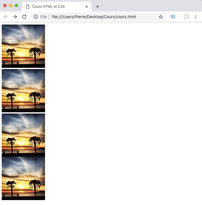 On définit l'affichage de nos images avec display block en CSS