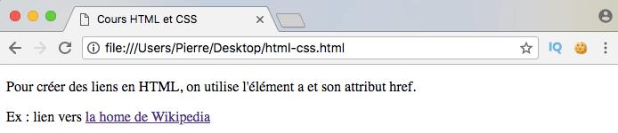 Résultat exemple création lien externe HTML