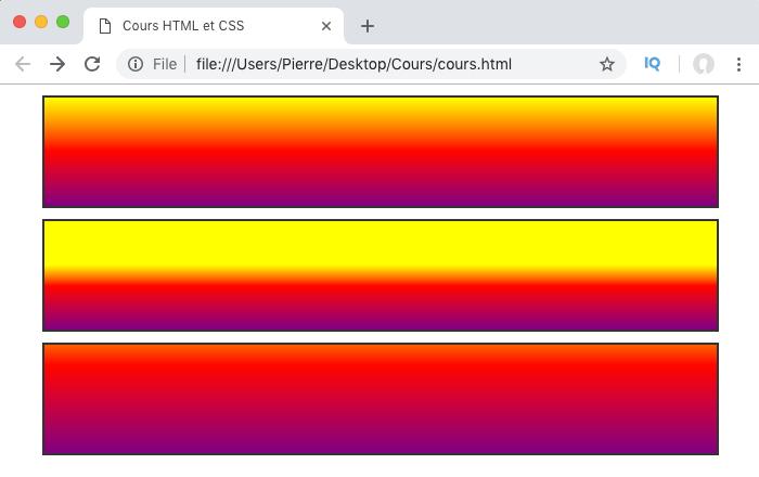 Un dégradé linéaire CSS avec direction et color stop
