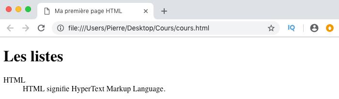 Résultat de l'utilisation de listes de définitions HTML