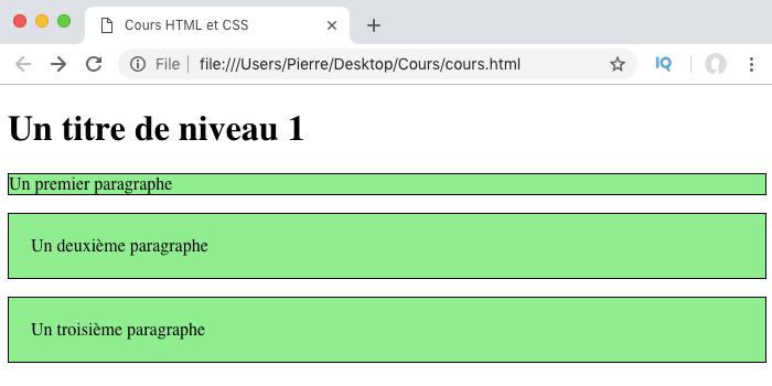 Résultat exemple d'ajout de marges internes en CSS avec padding