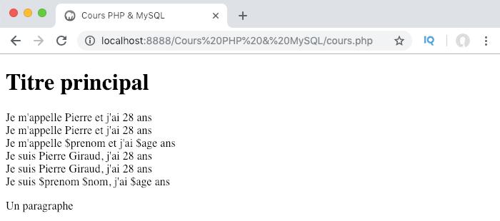 Illustration des différences entre l'utilisation des guillemets et des apostrophes en PHP