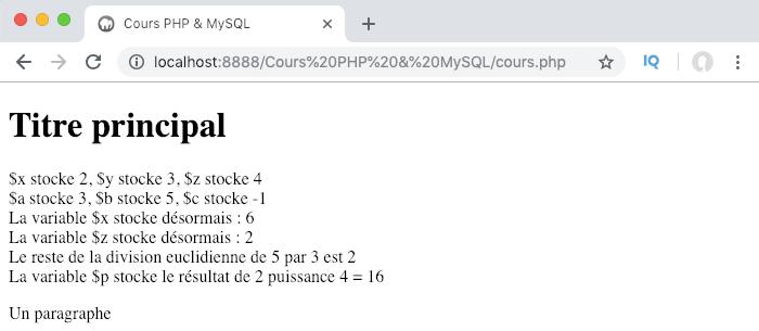 Présentation des opérateurs arithmétiques en PHP et opérations simples