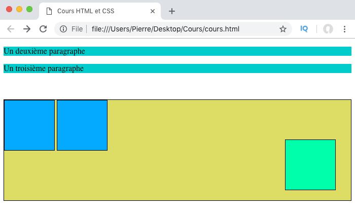 Résultat exemple d'utilisation de la propriété CSS position et de sa valeur absolute