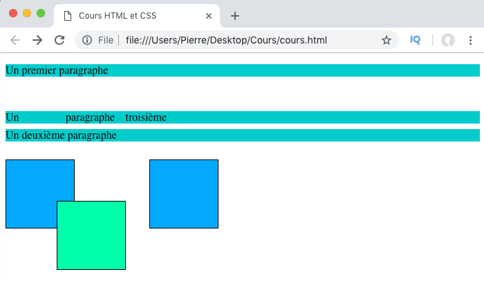 Résultat exemple d'utilisation de la propriété CSS position et de sa valeur relative
