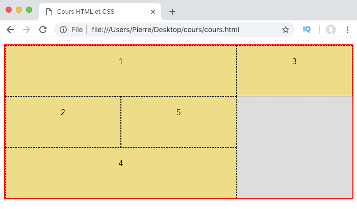 On utilise des zones de grille nommées pour positionner nos éléments en CSS