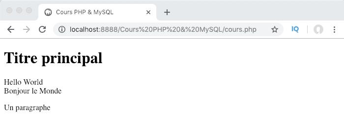 Résultat interprété de notre première instruction PHP