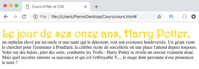 On cible la première ligne de contenu d'un élément avec le pseudo élément CSS first-line