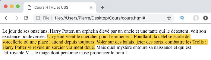 Résultat de l'utilisation du pseudo élément selection en CSS