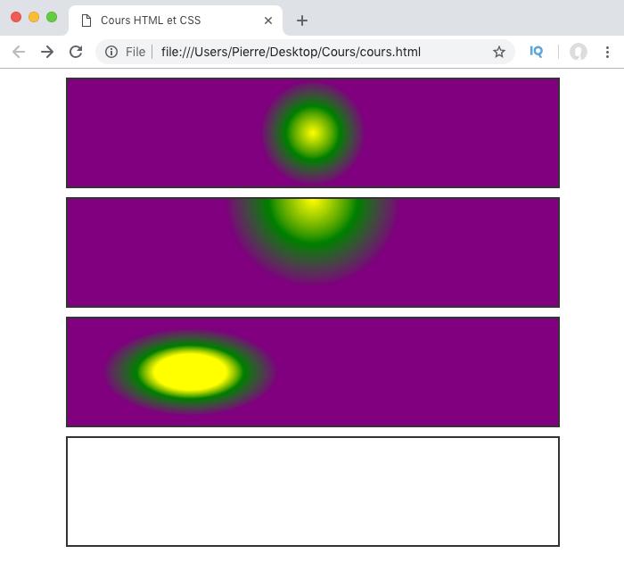 On crée des dégradés radiaux avec radial-gradient avec des formes différentes