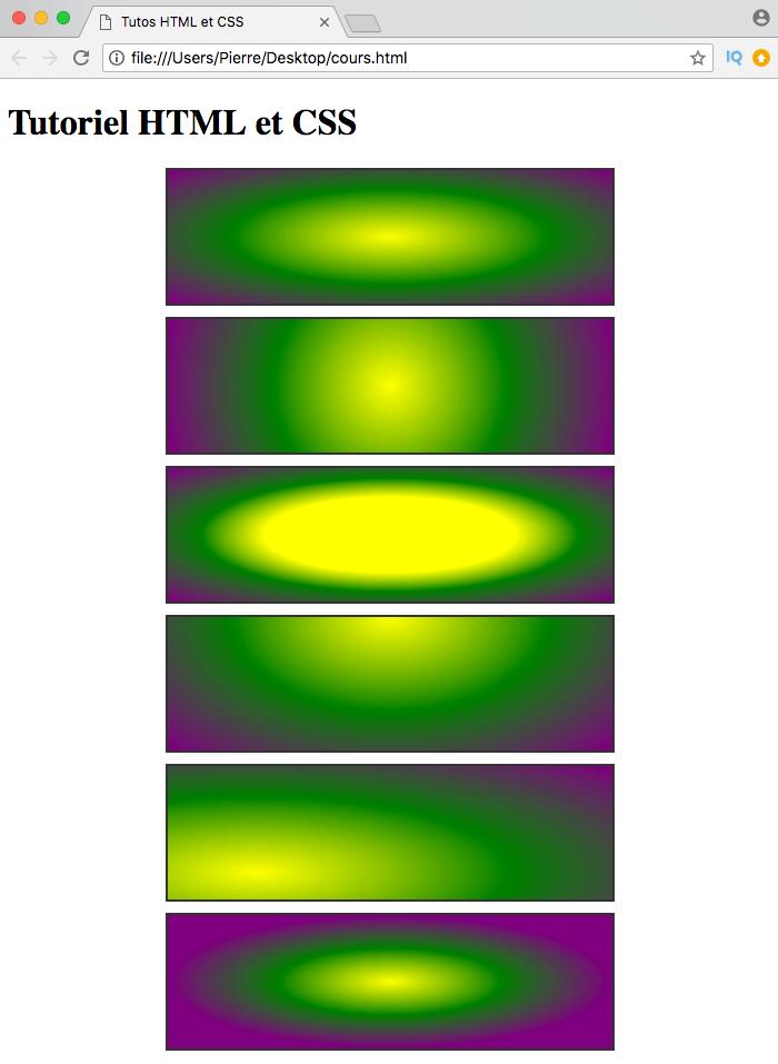 On créé différents dégradés radiaux avec des centres et des tailles différentes avec radial-gradient