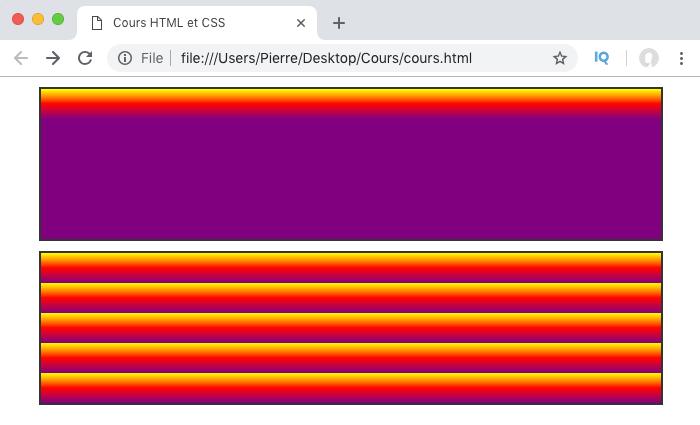 Exemple d'utilisation de repeating-linear-gradient en CSS