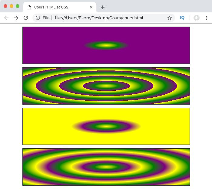 On utilise repeating-radial-gradient pour créer des dégradés radiaux qui se répètent