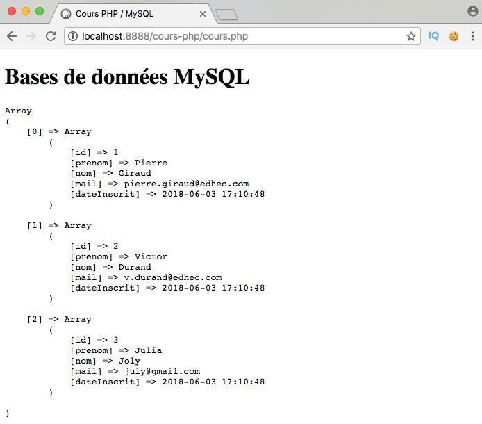 On sélectionne toutes les données d'une table MySQL en PDO PHP avec select all from