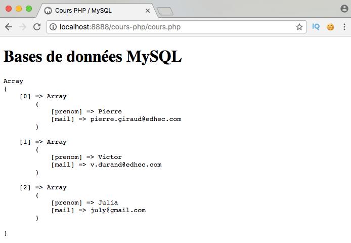 On sélectionne les données d'une table MySQL en PDO PHP avec select from