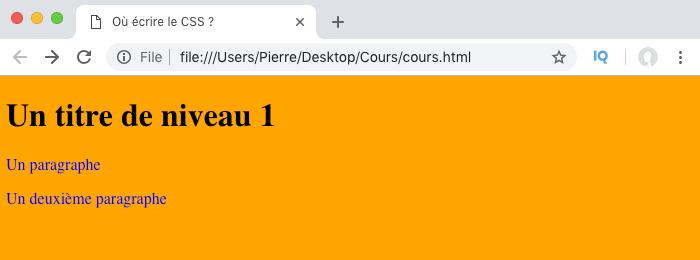 Application des styles CSS définis dans l'élément style au fichier HTML