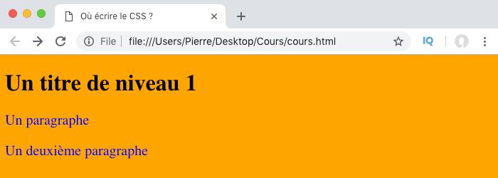 Les styles CSS définis dans un fichier séparé sont appliqués