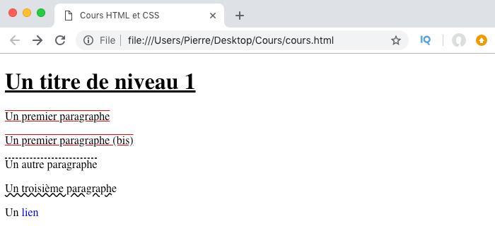 Résultat de l'utilisation de text-decoration long hand en CSS