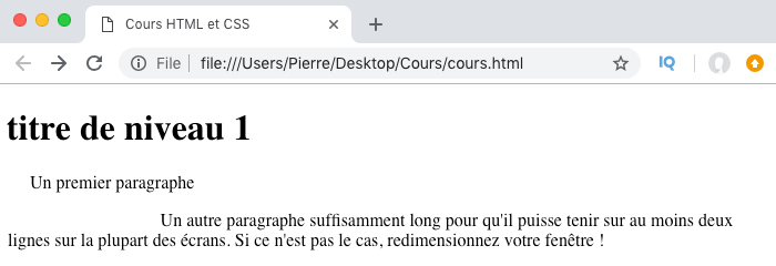 Résultat de l'utilisation de text-indent en CSS