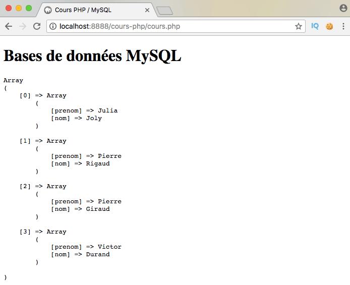 On sélectionne des données dans une table mysql en pdo php et on les ordonne avec select from order