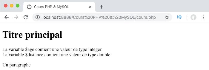 Une variable peut stocker des données de type integer ou nombre entier en PHP
