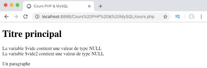 Le type null correspond à l'absence de valeur en PHP