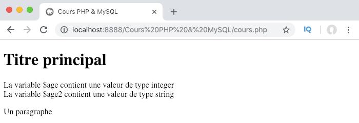 Les données en PHP peuvent être de type chaine de caractère ou string