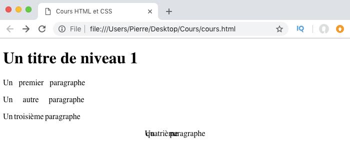 Résultat de l'utilisation de word-spacing en CSS