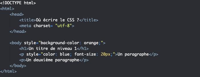 On peut placer le code CSS dans un attribut style dans nos éléments HTML