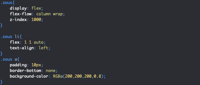 On définit les styles des sous menus HTML et CSS