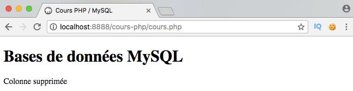 On supprime une colonne de notre table SQL avec PDO PHP
