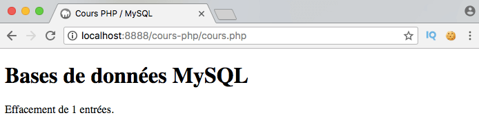 On supprime des entrées dans notre table MySQL en PDO PHP avec delete from