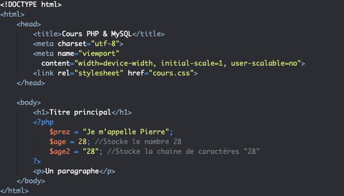Lorsqu'on entoure une valeur avec des apostrophes ou guillemets en PHP elle devient de type chaine de caractères