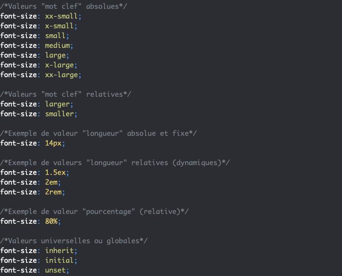 Les types de valeurs et unités des propriétés en CSS