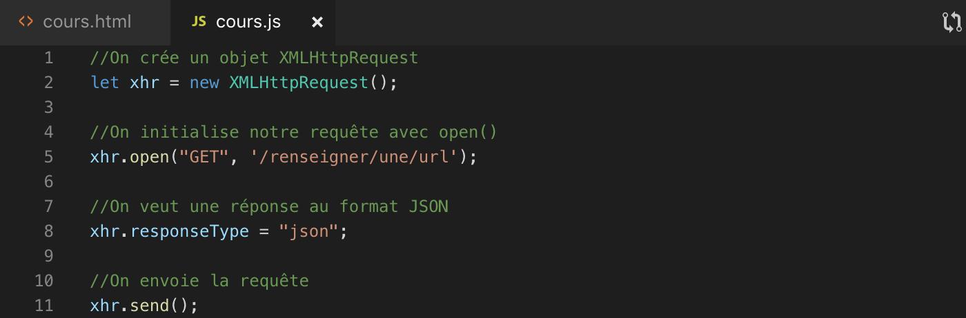 Créer et envoyer des requêtes Ajax en utilisant l'objet XMLHttpRequest