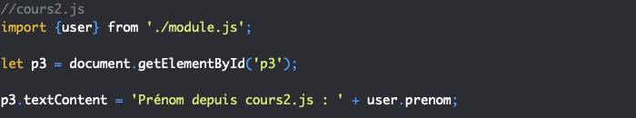 Import d'un module JavaScript dans deux fichiers et évaluation du module