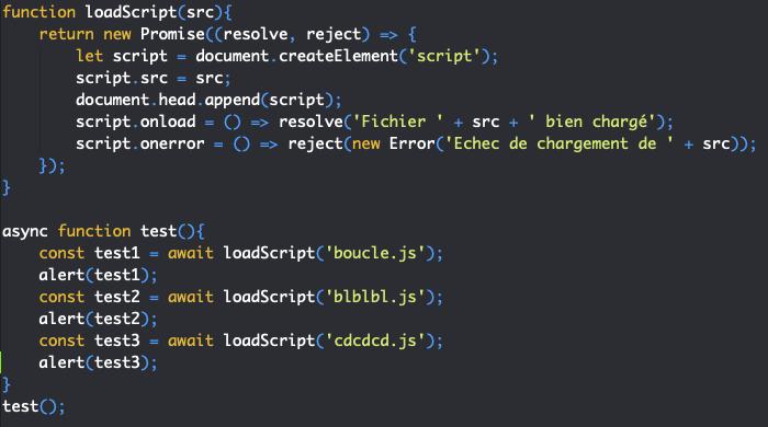 Création promesse avec async await en JavaScript