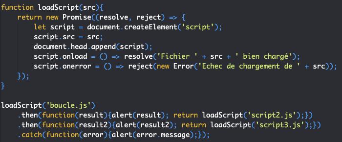 Création promesse JavaScript