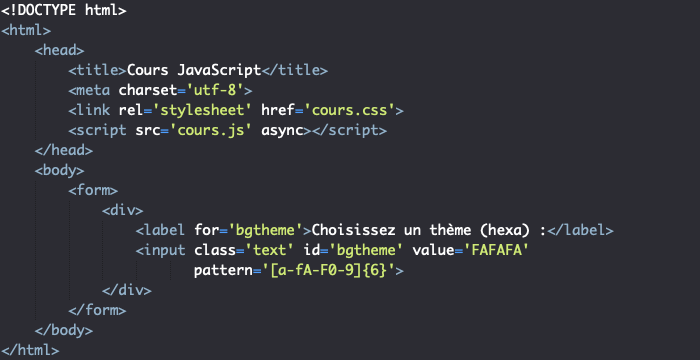 On crée un formulaire HTML HTML pour illustrer le fonctionnement de web storage JavaScript