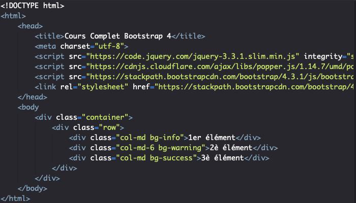 Création de colonnes Bootstrap responsive