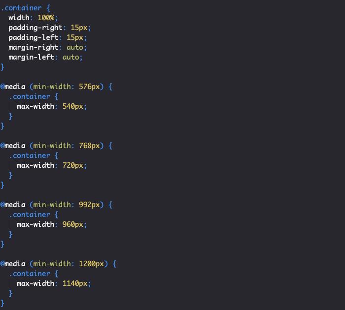 Styles CSS Bootstrap de la classe container