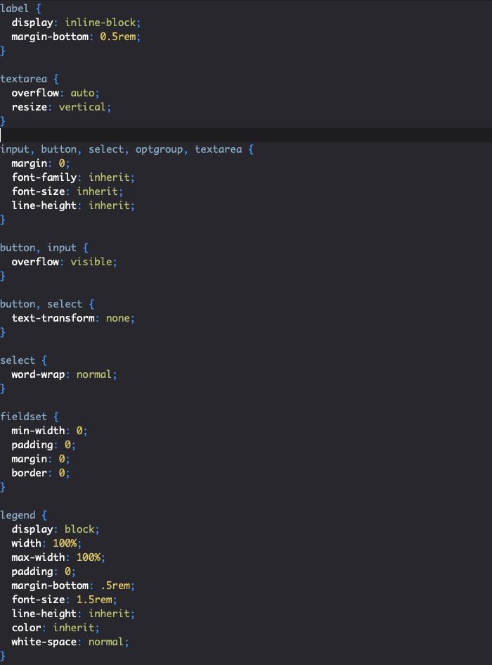 Styles reboot Bootstrap des formulaires