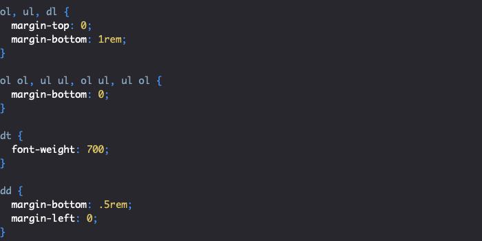 Styles reboot Bootstrap des listes