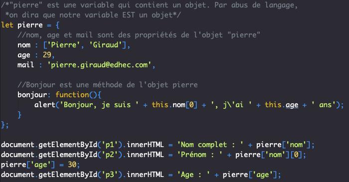 On accède aux propriétés d'un objet en JavaScript en utilisant une syntaxe avec des crochets