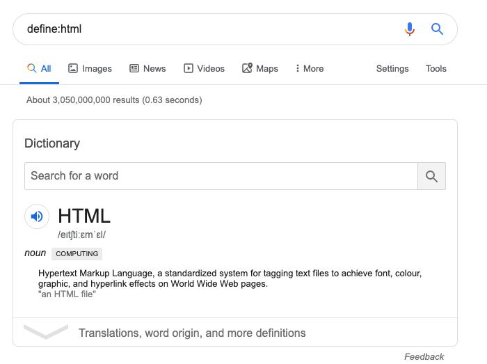 L'opérateur de recherche define de Google
