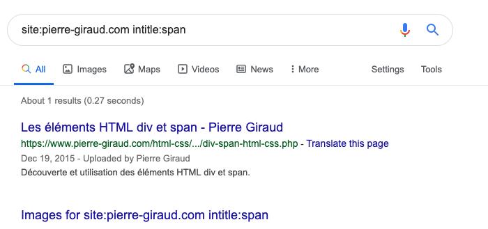 L'opérateur de recherche intitle de Google