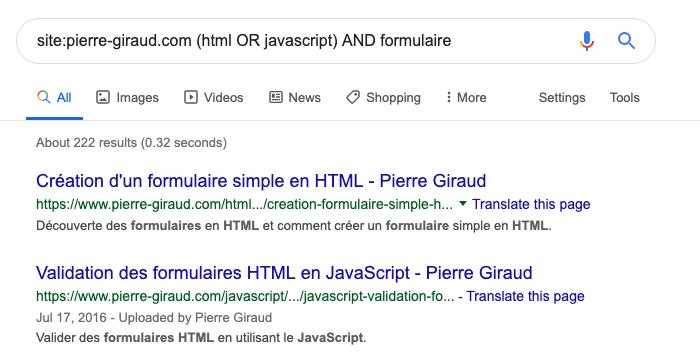 L'opérateur de groupement de recherche parenthèse de Google