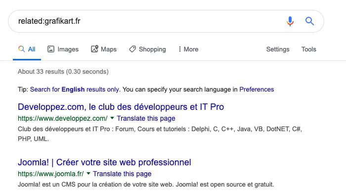 L'opérateur de recherche related de Google